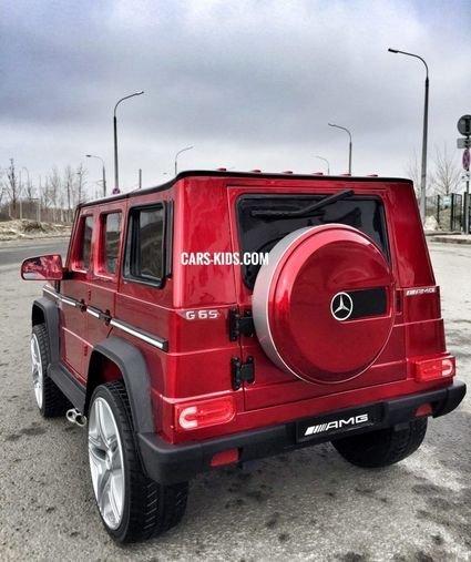 Электромобиль Mercedes-Benz G65 AMG белый глянец (АКБ 12v 10ah, колеса резина, сиденье кожа, пульт, музыка)