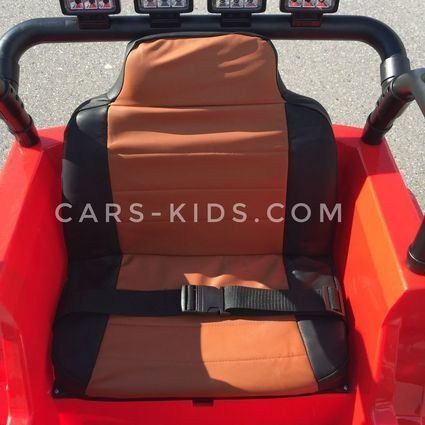 Электромобиль Jeep Wrangler 2WD красный (резиновые колеса, кожаное кресло, пульт, музыка)